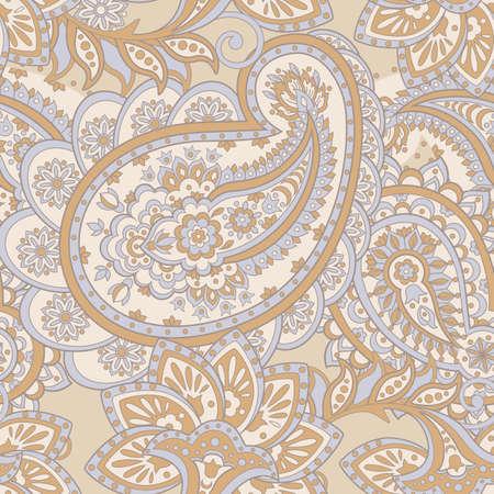 シームレスなペイズリー柄。アジアン スタイル花のベクトルの背景  イラスト・ベクター素材