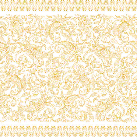 Paisley seamless textile pattern in asian batik style Illustration
