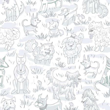 Cute dogs pattern. Seamless vector illustration with  bulldog, bobtail, dachshund, bullterrier, doberman, spitz, chihuahua Standard-Bild - 90667989