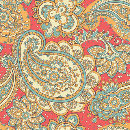Paisley ornament floral seamless pattern