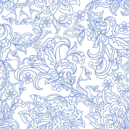 damask flowers seamless vector pattern. floral vintage background