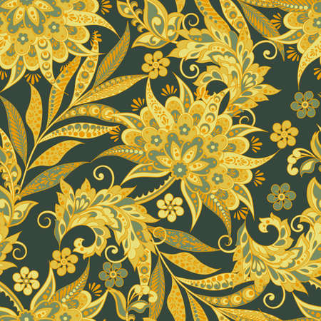 Vintage Vector Floral seamless pattern Çizim