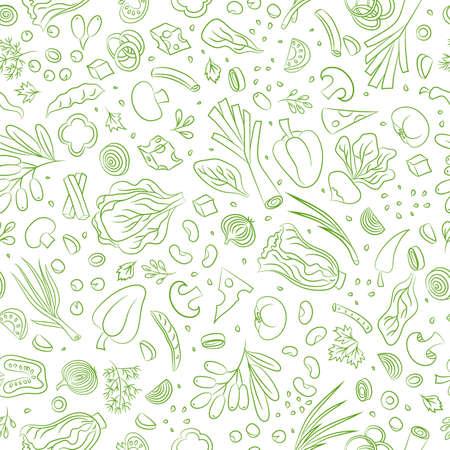 野菜と野菜のシームレスなパターン。食品ベクターの背景