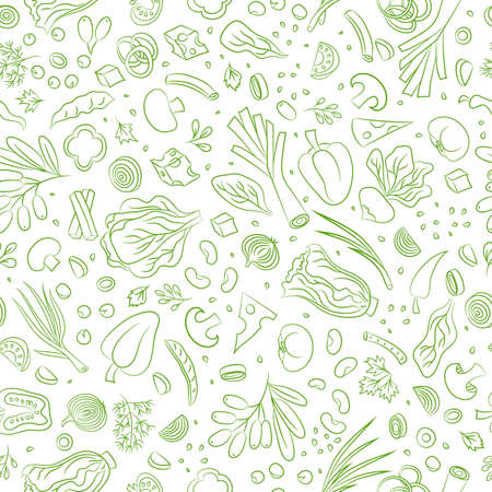 Veggie seamless pattern with vegetables. Food vector background Çizim