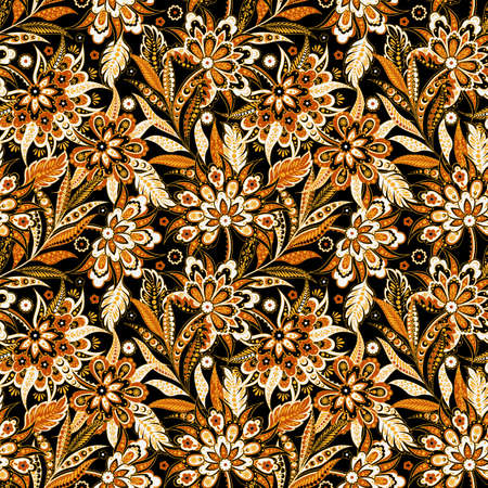 Vintage Vector Floral seamless pattern  イラスト・ベクター素材
