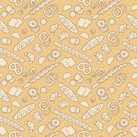 Bakery products hand drawn pattern.