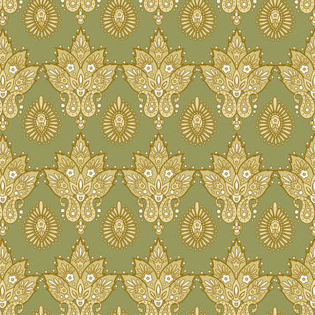 Floral seamless pattern. Vector illustration in Asian textile style