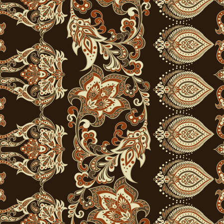 Folkloric Batik vector ornament. Ethnic Floral seamless pattern.