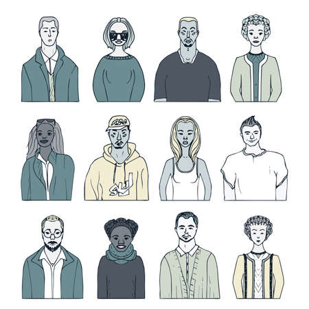 Set of hand drawn doodle people. funny portraits. Illustration