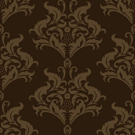Vector seamless damask pattern. Floral vintage background. Çizim