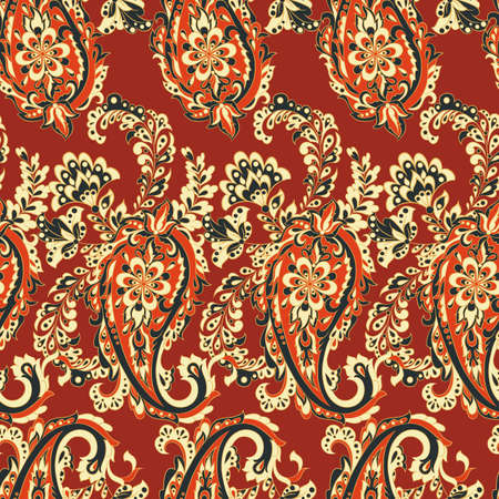 paisley seamless pattern. colorful vector wallpaper Illustration