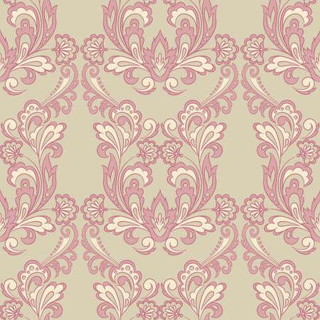 Seamless floral vintage background. Vector background for textile design. Wallpaper, background, baroque pattern Illustration