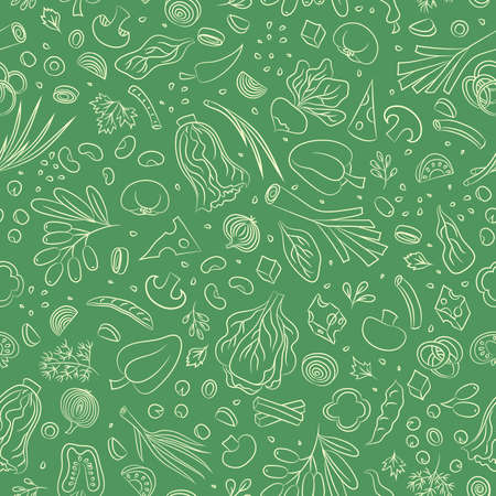 Veggie seamless pattern with vegetables. Food vector background Ilustracja