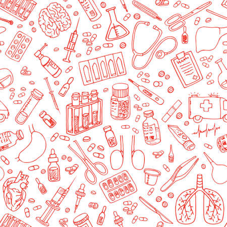 Medicine doodle. Hand drawn vector seamless pattern Illustration