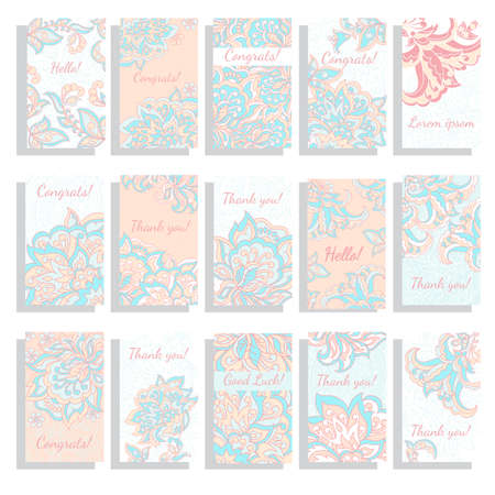 set of vector floral background template pattern ロイヤリティフリー