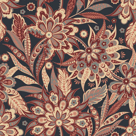 Elegance seamless pattern with ethnic flowers Illustration