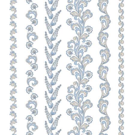 Set of floral seamless borders. Vector design element illustration.