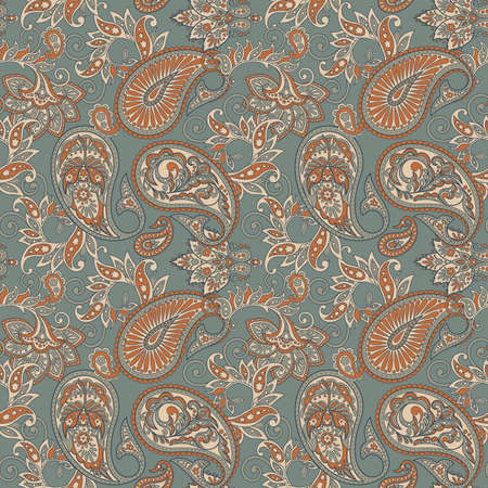 Paisley Floral ornamental Pattern. Seamless Arabic Ornament. Ornamental motifs of the Indian fabric patterns.