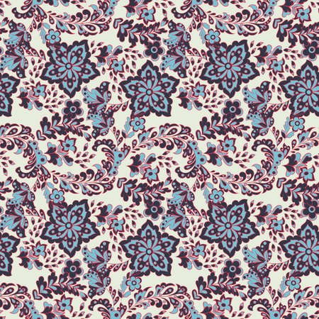 Seamless pattern with ethnic flowers. Vector Floral Illustration in asian textile style