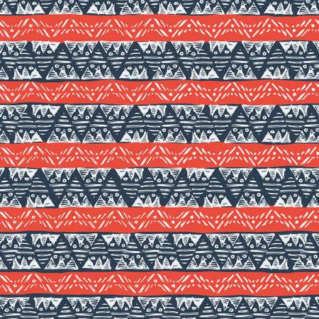 Ethnic vector seamless pattern. Hand drawn monochrome background. 일러스트