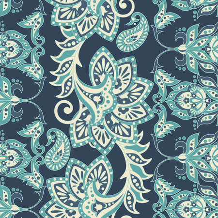 Damask seamless pattern with flowers in Indian style. Floral vector wallpaper
