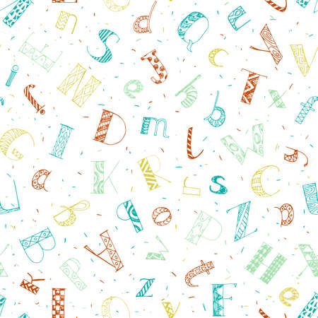colorful hand drawn doodle letters seamless pattern. education vector background