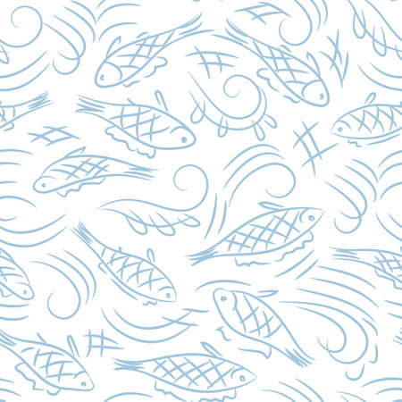 hand drawn fish seamless vector pattern