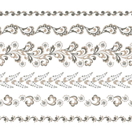 Set of floral seamless borders. vector design element. Stock Illustratie