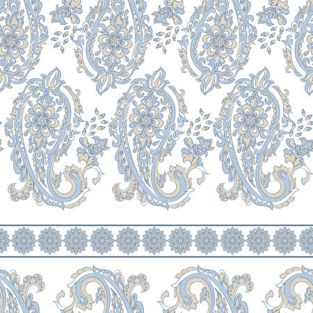 Paisley Floral oriental ethnic Pattern. Seamless  Ornamental Indian fabric patterns. Illustration
