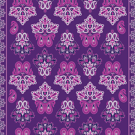Seamless pattern with ethnic flowers. Vector Floral Illustration in Asian textile style Illustration