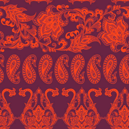 Floral seamless pattern with paisley ornament. damask vector background Illustration