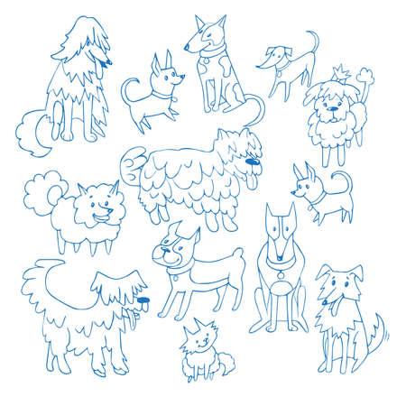 Set of cute dogs in sketch back drop. vector background Standard-Bild - 97703649