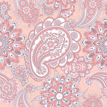 Floral seamless pattern with paisley ornament. Vector Background