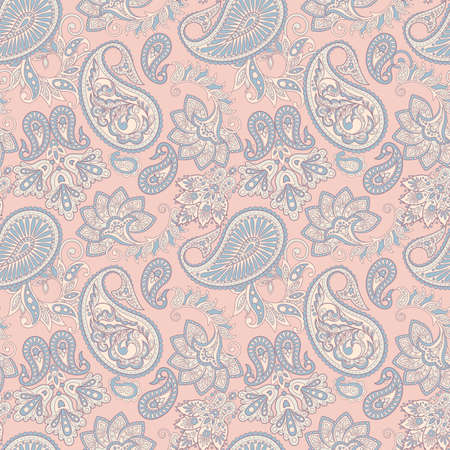 Floral seamless pattern with paisley ornament vector illustration in Asian textile style.