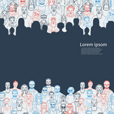 Hand drawn people vector background for your text.