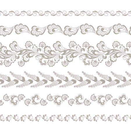 Set of floral seamless borders. Vector design element.