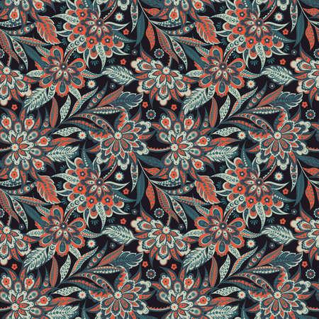 Vintage Vector Floral seamless pattern  イラスト・ベクター素材