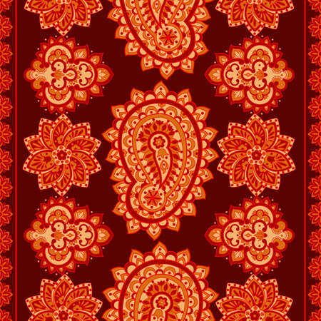 Paisley seamless pattern with flowers in indian style. Floral vector background