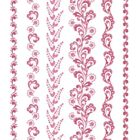 set of floral seamless borders. vector design element