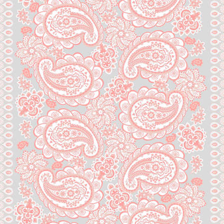 Paisley seamless border pattern. Vector ethnic ornament