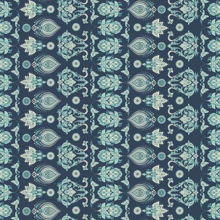 Folkloric Batik vector ornament. Ethnic Floral seamless pattern Illustration