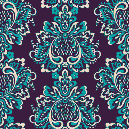Baroque style wallpaper. Floral seamless vector background.