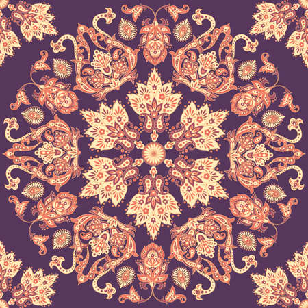 seamless ethnic pattern with mandala ornament. Vintage Indian Style Background