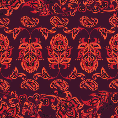 asian floral seamless pattern. Damask seamless vector background Illustration