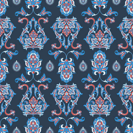 Indian style Floral vector ornament. vintage seamless pattern.