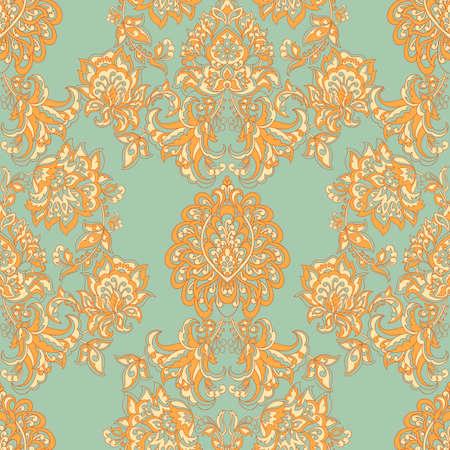 シームレスなヴィンテージベクターの背景。ベクター花の壁紙バロックスタイルパターン