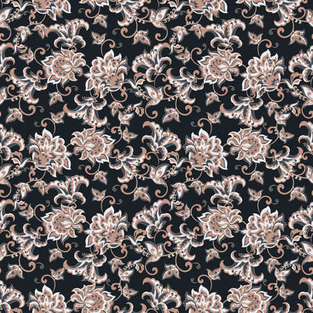 Elegance seamless pattern with ethnic flowers. Vintage Vector Floral Illustration Illustration
