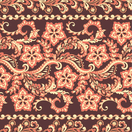 Ffloral seamless pattern in batik style, Vector background