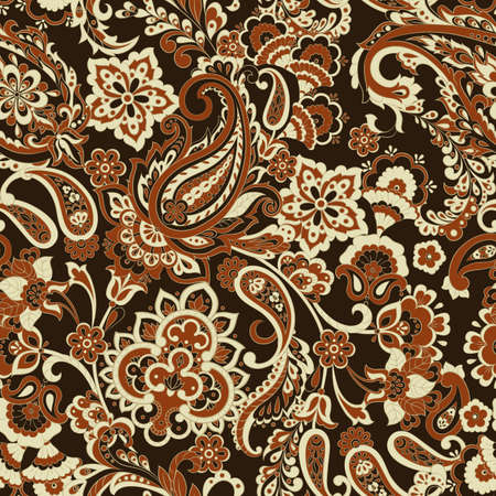 Floral seamless pattern with paisley ornament. Illustration