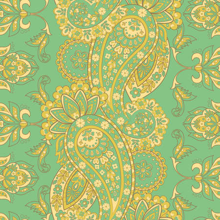 Paisley seamless floral pattern. Indian vintage background Vetores